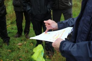 Peter shows a table of the chemicals responsible for autumn leaf colour.