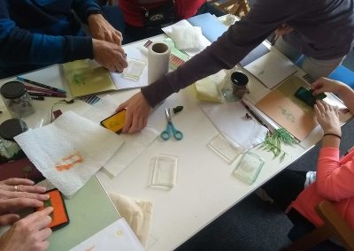 Busy hands crafting away with colour derived from nature
