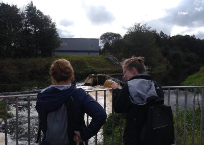 Chatting about the fish pass and the weir