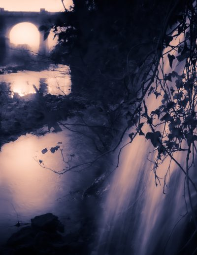 """Alan Ramsay -- """"Waterfall from the canal overflow rejoins the River Almond"""", Lin's Mill Aqueduct"""